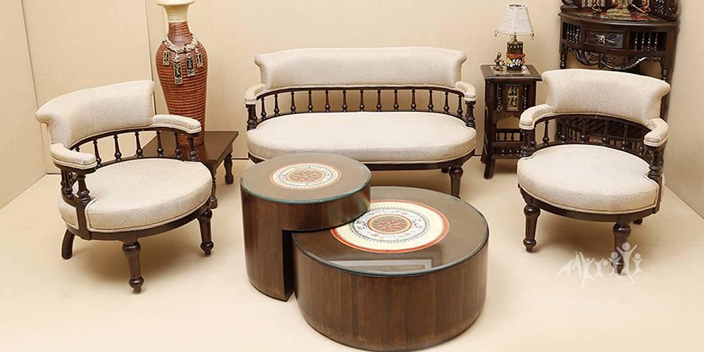 Qayanat Wooden Sofa - Walnut by Urban Ladder - -