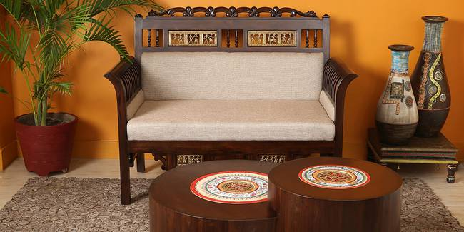 Raveena Wooden Sofa - Walnut (2-seater Custom Set - Sofas, None Standard Set - Sofas, Regular Sofa Size, Regular Sofa Type, Walnut, Solid_Wood Sofa Material)