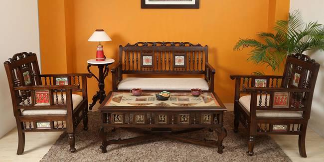 Ridhi Wooden Sofa - Walnut (2-seater Custom Set - Sofas, None Standard Set - Sofas, Regular Sofa Size, Regular Sofa Type, Walnut, Solid_Wood Sofa Material)