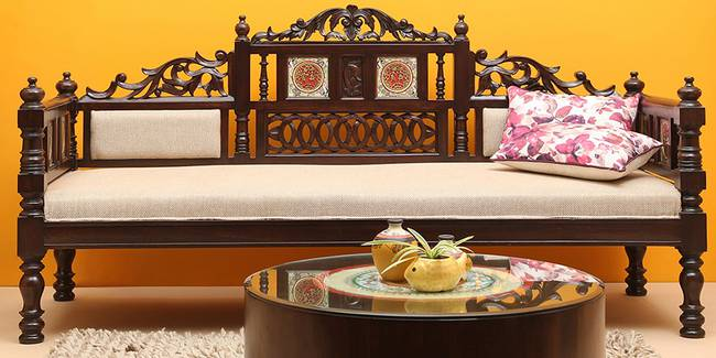 Rabhya Wooden Sofa - Walnut (3-seater Custom Set - Sofas, None Standard Set - Sofas, Regular Sofa Size, Regular Sofa Type, Walnut, Solid_Wood Sofa Material)