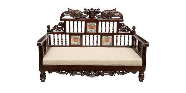 Rachana Wooden Sofa - Walnut (2-seater Custom Set - Sofas, None Standard Set - Sofas, Regular Sofa Size, Regular Sofa Type, Walnut, Solid_Wood Sofa Material)