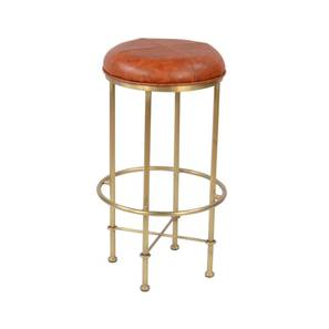 Ashleigh bar stool tan and brass color leather and iron finish lp