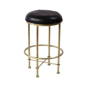 Clift Bar Stool (Black & Brass, Leather & Iron Finish) by Urban Ladder - Cross View Design 1 - 374342