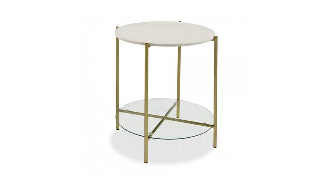 Kyle End Table (Brass White, White & Brass Finish) by Urban Ladder - Cross View Design 1 - 374351
