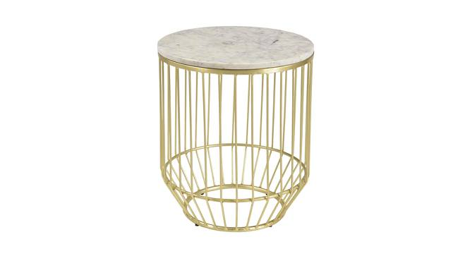 Laird End Table (Brass White, White & Brass Finish) by Urban Ladder - Cross View Design 1 - 374354