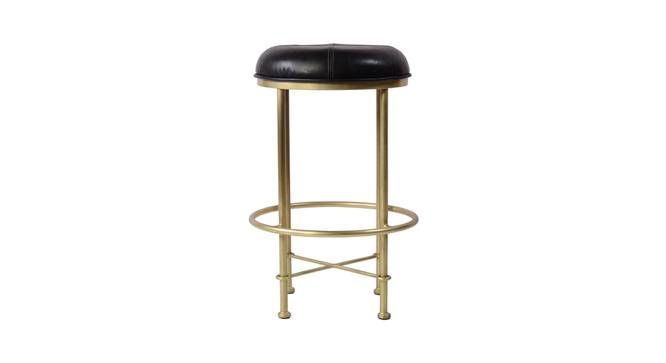 Clift Bar Stool (Black & Brass, Leather & Iron Finish) by Urban Ladder - Front View Design 1 - 374368