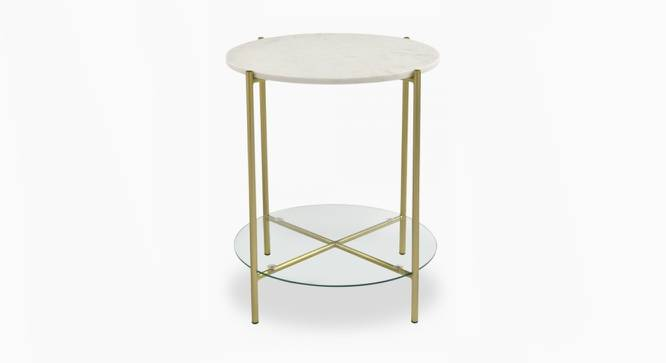 Kyle End Table (Brass White, White & Brass Finish) by Urban Ladder - Front View Design 1 - 374377