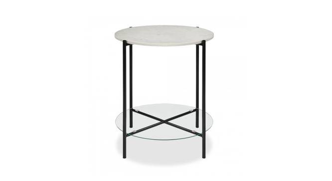 Gifford End Table (Black & White, Black & White Finish) by Urban Ladder - Front View Design 1 - 374378