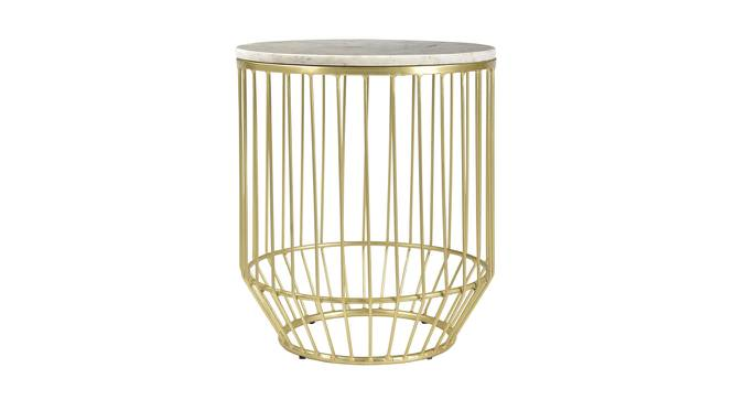 Laird End Table (Brass White, White & Brass Finish) by Urban Ladder - Front View Design 1 - 374380