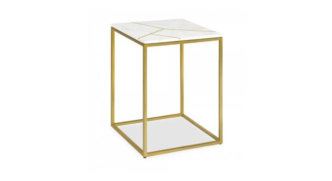Lowry End Table (Brass White, White & Brass Finish) by Urban Ladder - Cross View Design 1 - 374453