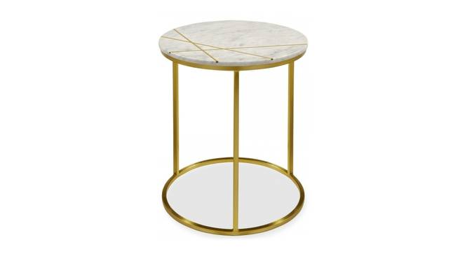 Morag End Table (Brass White, White & Brass Finish) by Urban Ladder - Cross View Design 1 - 374455