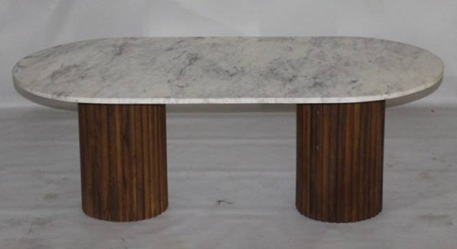Nelly Coffee Table (Natural White, White & Natural Finish) by Urban Ladder - Front View Design 1 - 374464