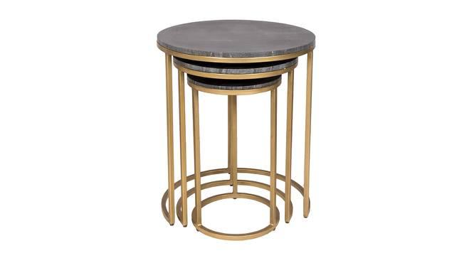 Logan Nesting Table (Black & Brass, Black & Brass Finish) by Urban Ladder - Front View Design 1 - 374478