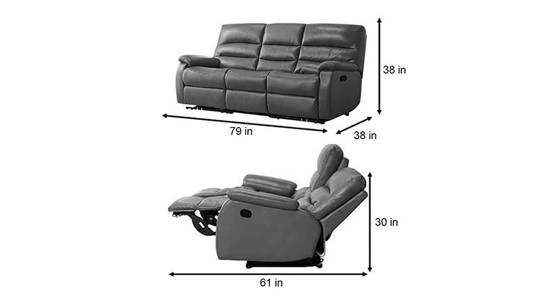 Arya manual recliner dark grey color upholstered recliner finish 6