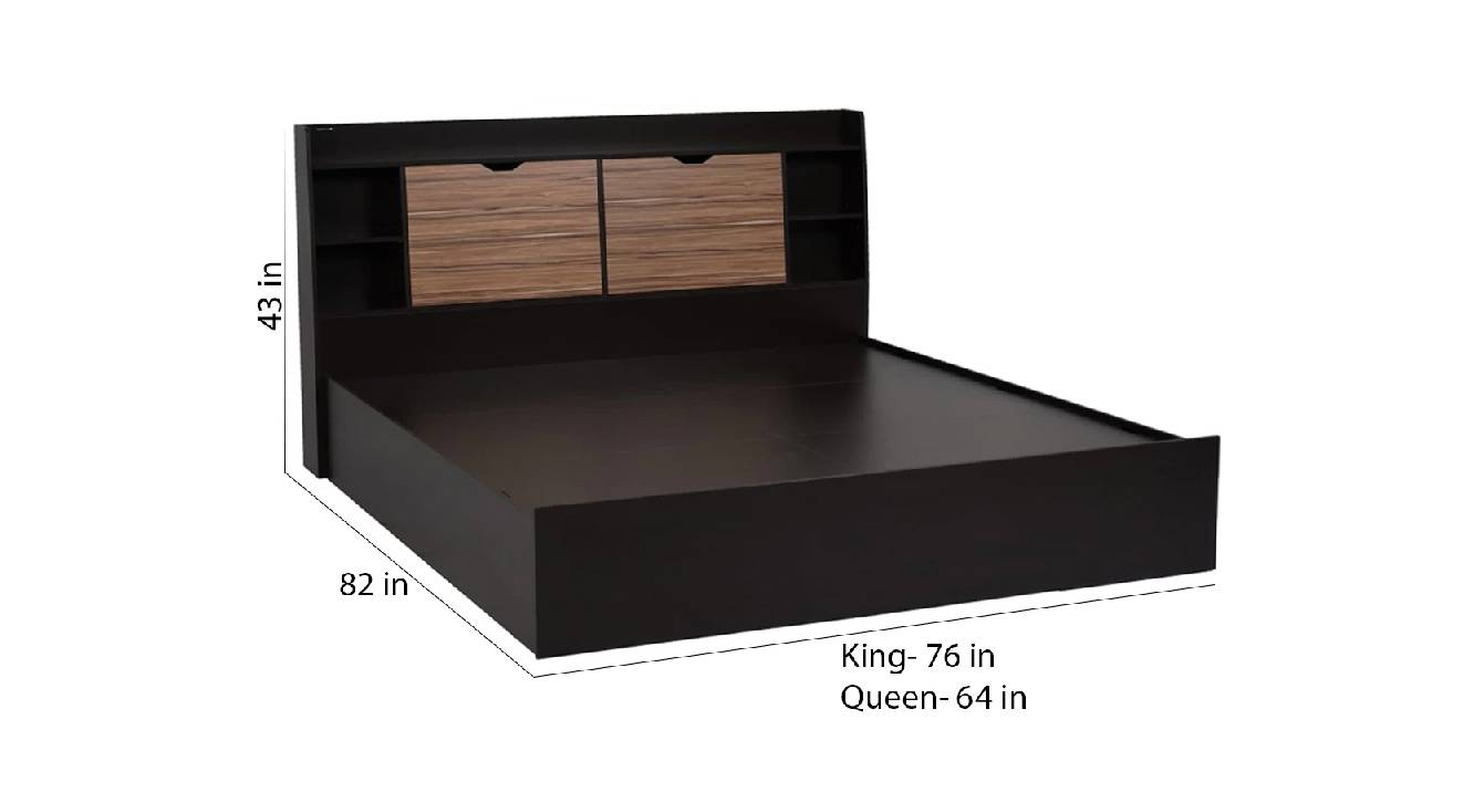 Cythera storage bed brown color engineered wood finish 6