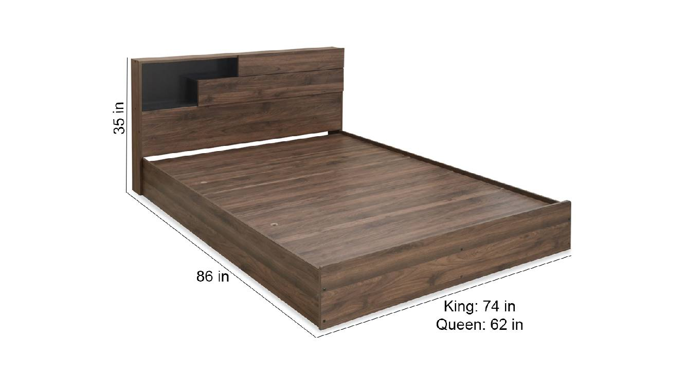 Buton storage bed brown color engineered wood finish 6
