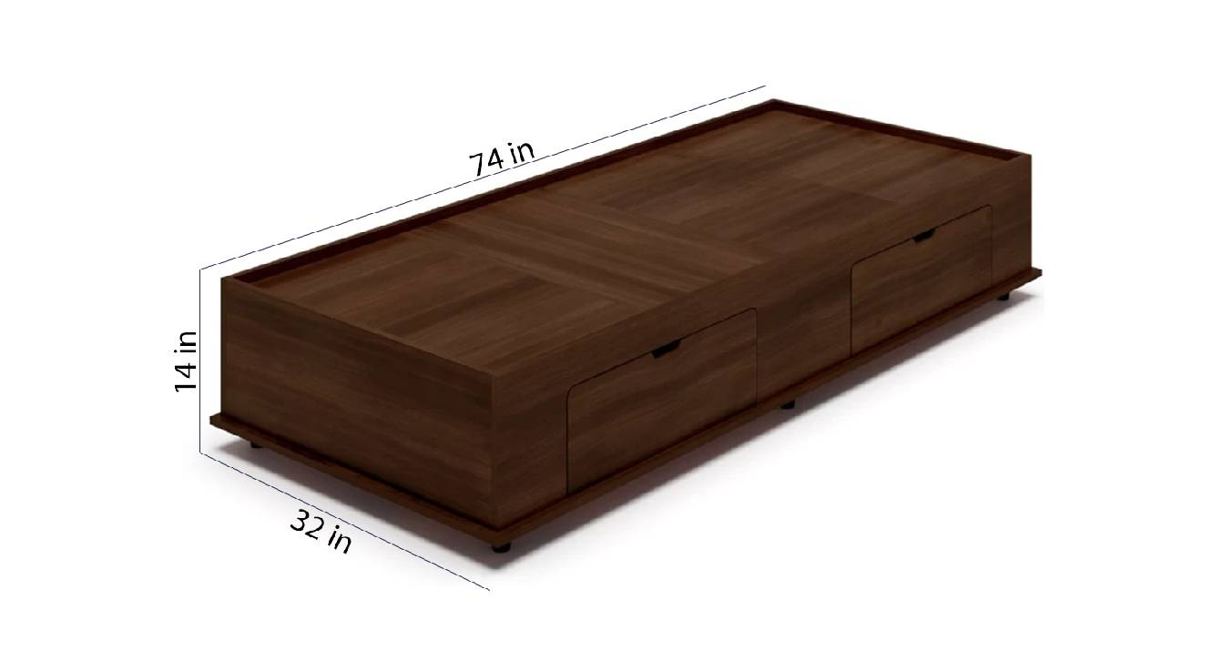 Delos storage bed brown color engineered wood finish 6