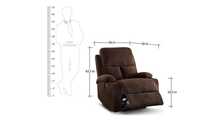 Heize manual recliner brown color upholstered recliner finish 6