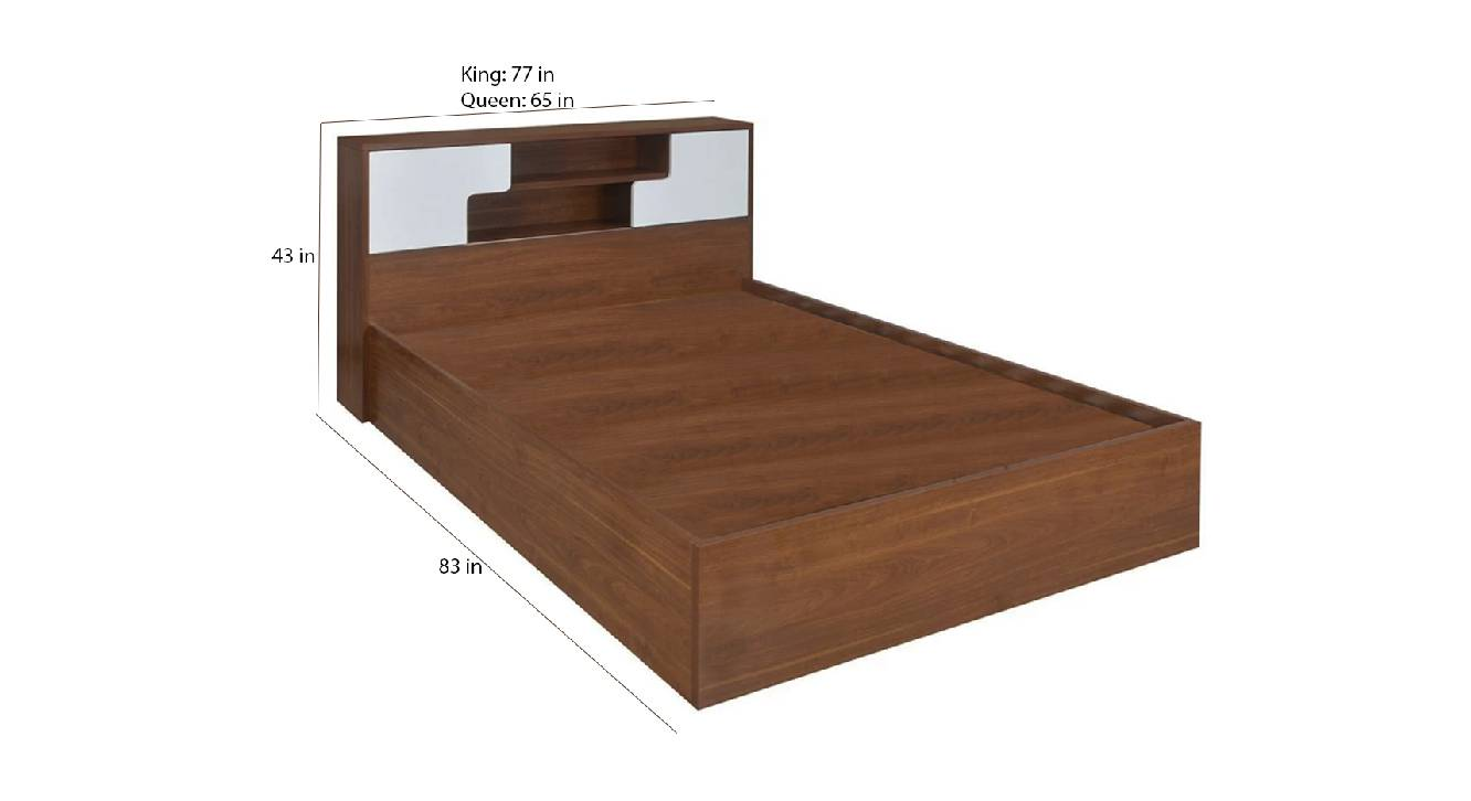 Leucas storage bed brown color engineered wood finish 6