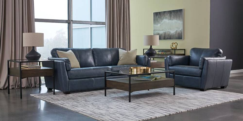 Cormac Leatherette sofa - Blue by Urban Ladder - -