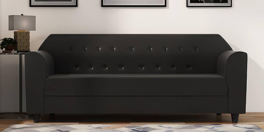 Rismana Leatherette sofa - Black by Urban Ladder - -
