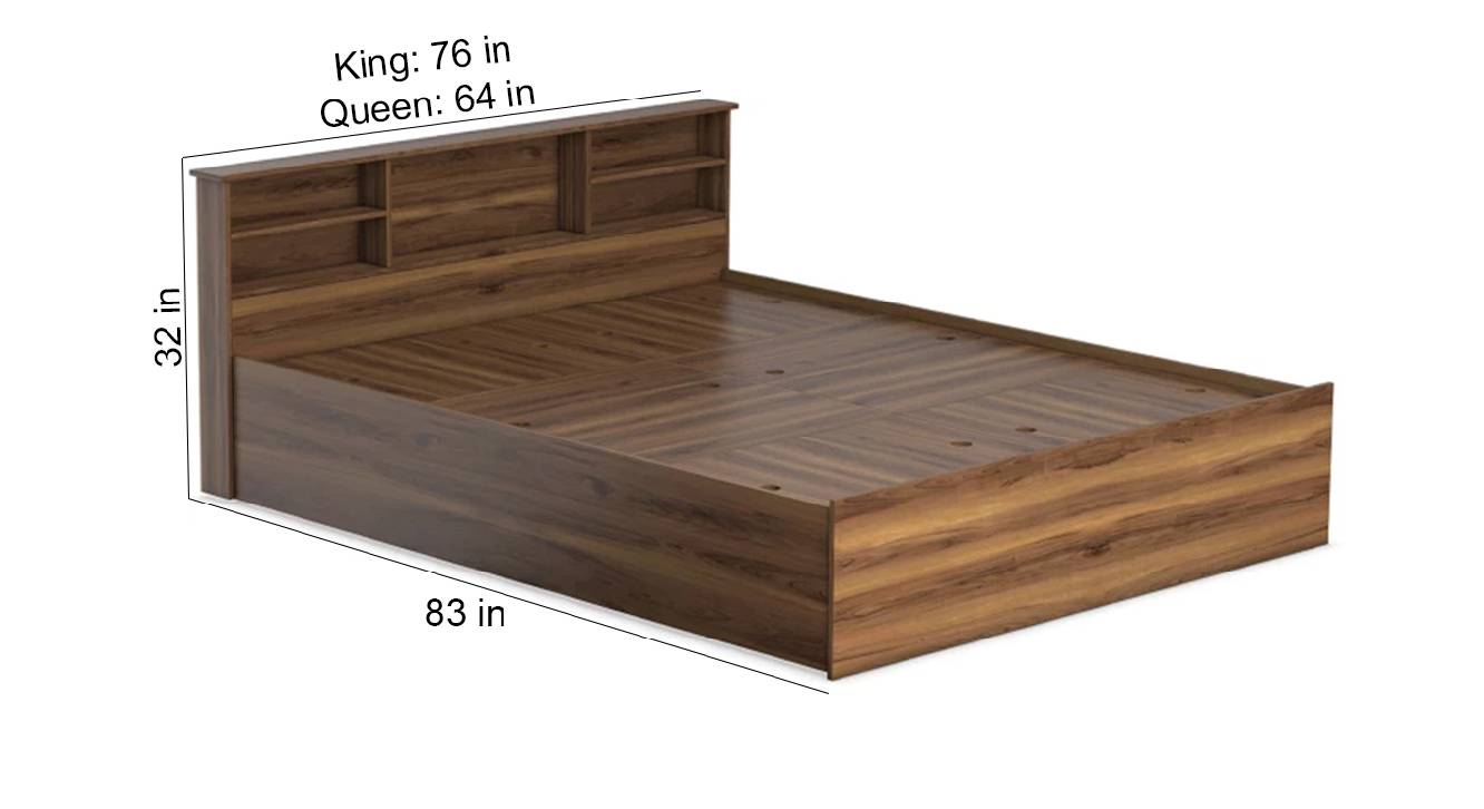 Melos storage bed brown color engineered wood finish 6