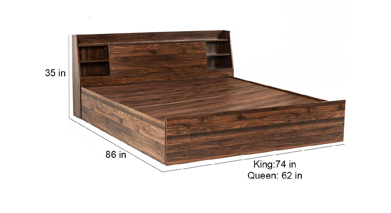 Syros storage bed brown color engineered wood finish 6