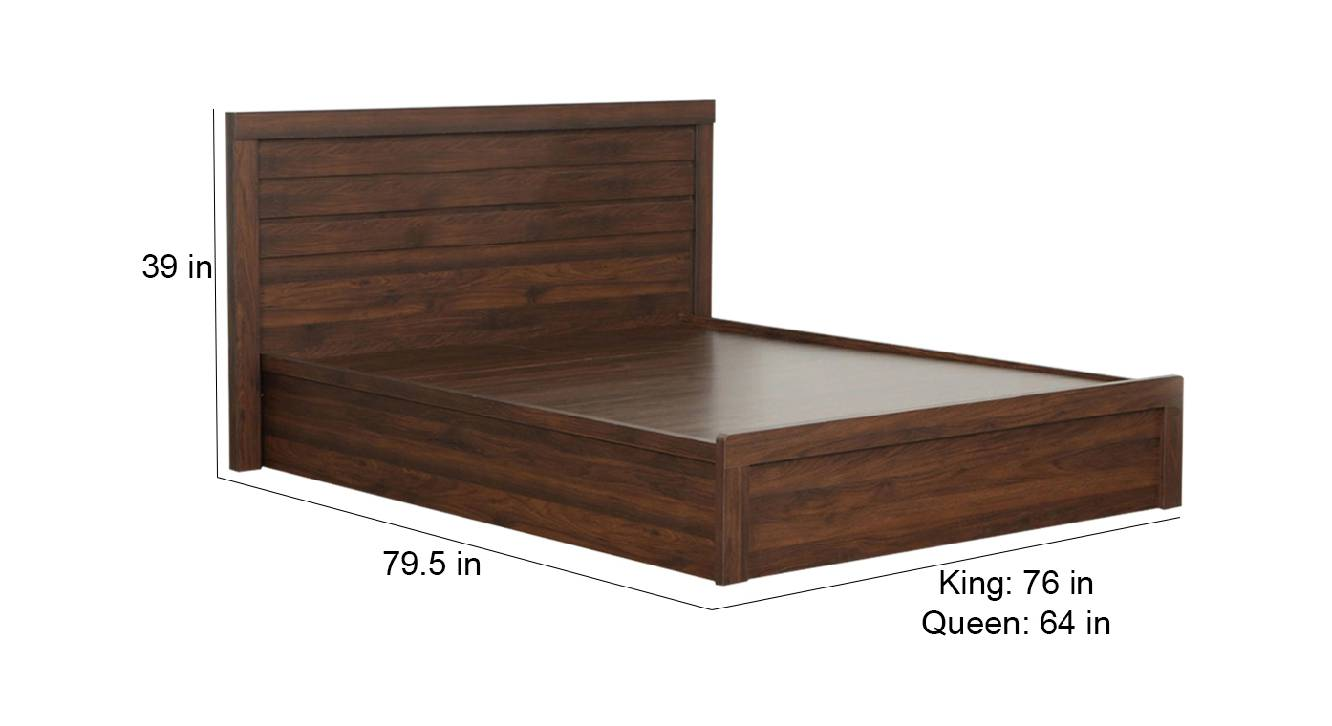 Sporades storage bed brown color engineered wood finish 6