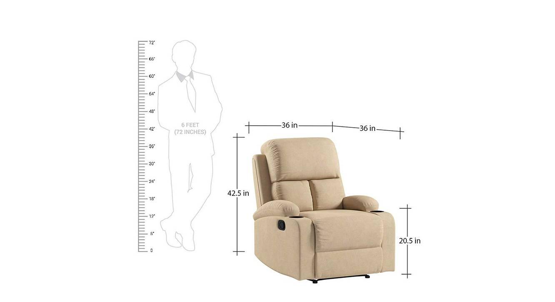 Titus manual recliner beige color upholstered recliner finish 6