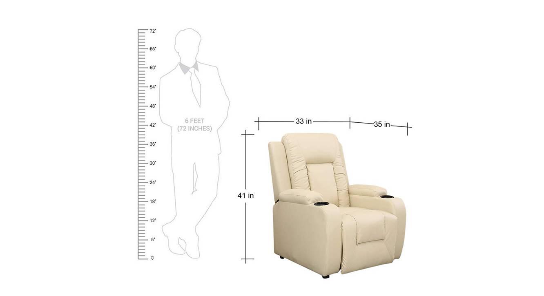 Wyatt manual recliner cream color upholstered recliner finish 6