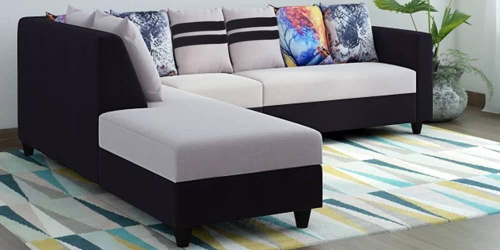 Blenheim Fabric Sectional Sofa - Grey-Black by Urban Ladder - -