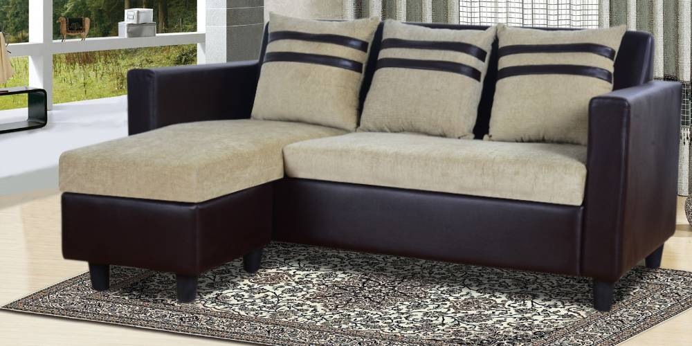 Cleveland Fabric Sectional Sofa - Beige-Brown by Urban Ladder - -