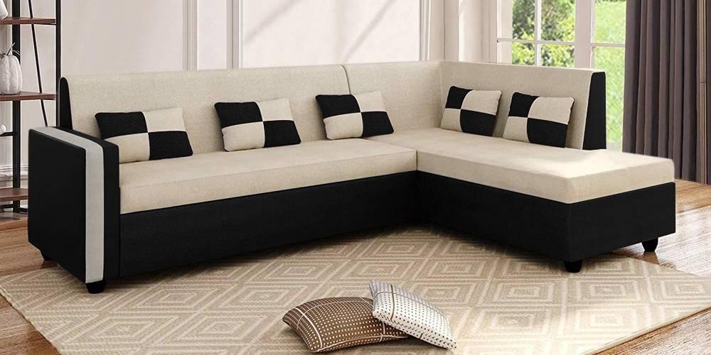Corinth Fabric Sectional Sofa - Cream-Black by Urban Ladder - -