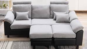 Dallon Fabric Sectional Sofa - Light Grey-Black