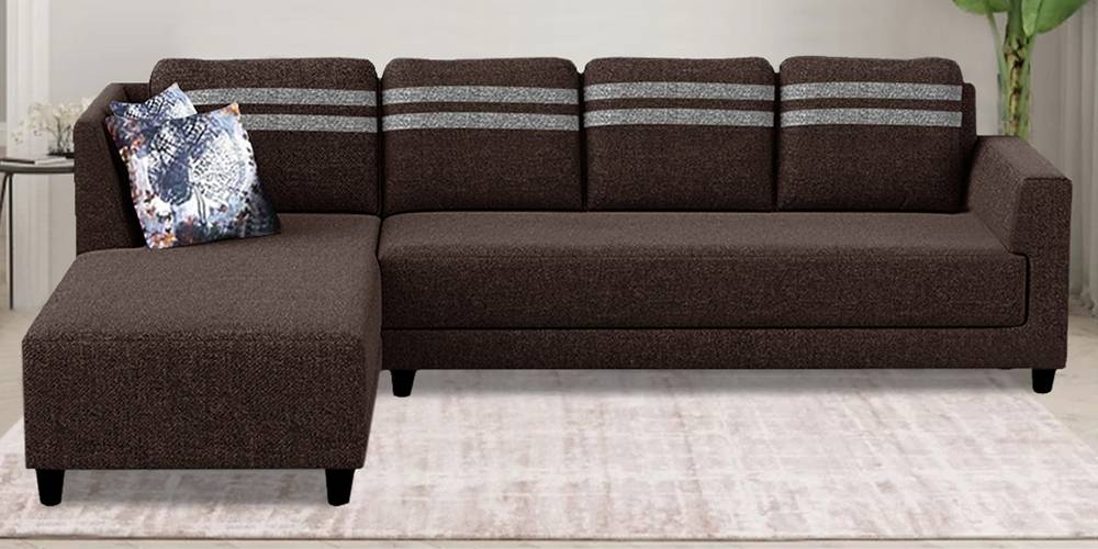 Esther Fabric Sectional Sofa - Brown by Urban Ladder - -