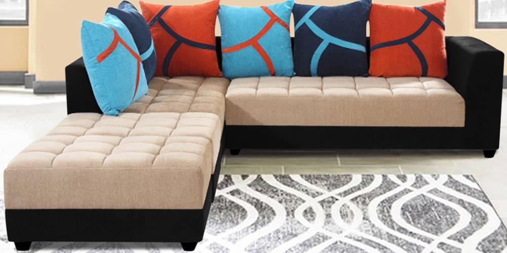 Higgins Fabric Sectional Sofa - Beige & Black by Urban Ladder - -