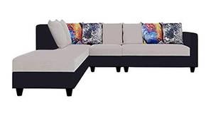 Imola Fabric Sectional Sofa - Light Grey Black