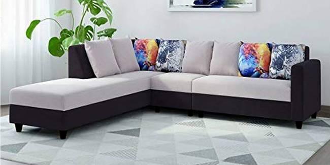 Imola Fabric Sectional Sofa - Light Grey Black (None Standard Set - Sofas, Fabric Sofa Material, Regular Sofa Size, Sectional Sofa Type, Left Sectional Sofa Custom Set - Sofas, Regular Cushion Type, light grey-black)