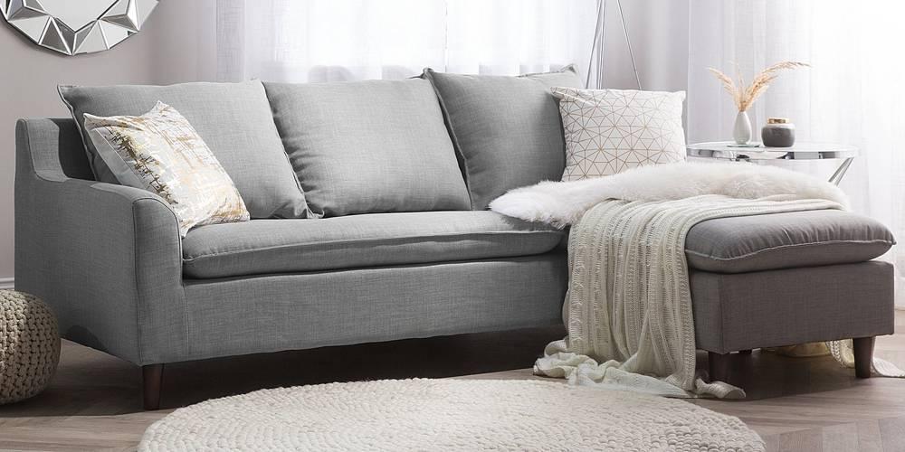 Imola Fabric Sectional Sofa - Light Grey by Urban Ladder - -