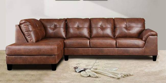 Lennon Leatherette Sectional Sofa - Brown (Brown, None Standard Set - Sofas, Fabric Sofa Material, Regular Sofa Size, Sectional Sofa Type, Left Sectional Sofa Custom Set - Sofas, Regular Cushion Type)
