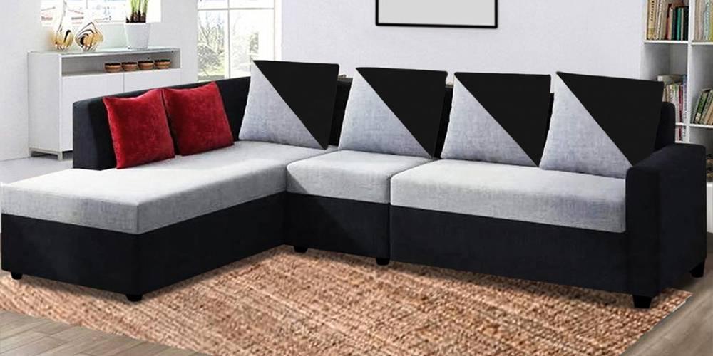 Larissa Fabric Sectional Sofa - Grey-Black by Urban Ladder - -