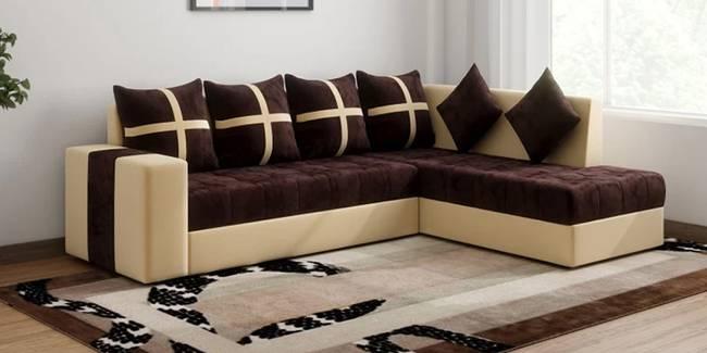 Mitch Fabric Sectional Sofa - Brown-Cream (None Standard Set - Sofas, Fabric Sofa Material, Regular Sofa Size, Sectional Sofa Type, Right Sectional Sofa Custom Set - Sofas, Regular Cushion Type, cream-brown)