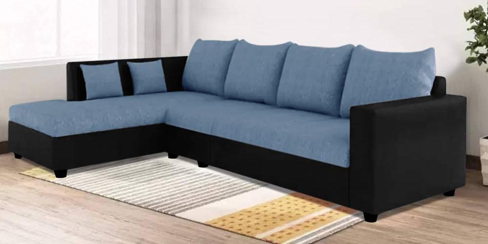 Nikaia  Fabric Sectional Sofa - Blue-Black by Urban Ladder - -