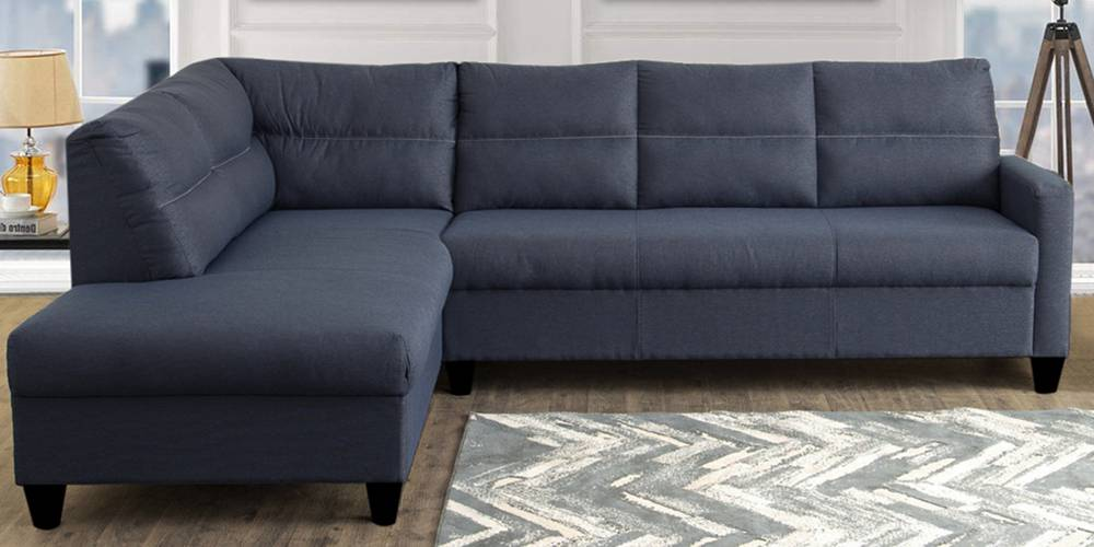 Shelby Fabric Sectional Sofa - Blue by Urban Ladder - -