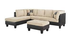Spencer Fabric Sectional Sofa - Cream-Black