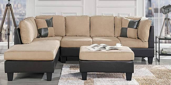 Spencer Fabric Sectional Sofa - Cream-Black (None Standard Set - Sofas, Fabric Sofa Material, Regular Sofa Size, Sectional Sofa Type, Left Sectional Sofa Custom Set - Sofas, Regular Cushion Type, cream-black)