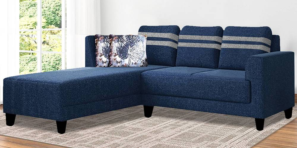 Valerie Fabric Sectional Sofa - Blue by Urban Ladder - -