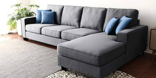 Waldo Fabric Sectional Sofa - Grey (Grey, None Standard Set - Sofas, Fabric Sofa Material, Regular Sofa Size, Sectional Sofa Type, Right Sectional Sofa Custom Set - Sofas, Regular Cushion Type)