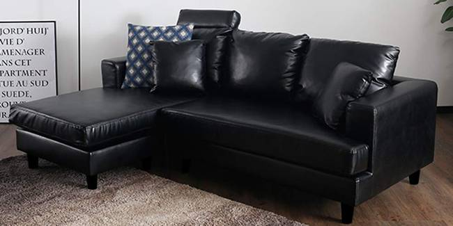 Harpo Leatherette Sectional Sofa - Black (Black, None Standard Set - Sofas, Leatherette Sofa Material, Regular Sofa Size, Sectional Sofa Type, Regular Cushion Type, Interchangeable Sectional Sofa Custom Set - Sofas)