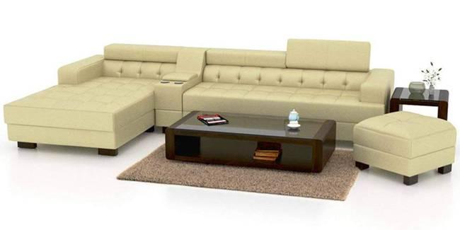 Kirby Leatherette Sectional Sofa - Cream (Cream, None Standard Set - Sofas, Leatherette Sofa Material, Regular Sofa Size, Sectional Sofa Type, Left Sectional Sofa Custom Set - Sofas, Regular Cushion Type)